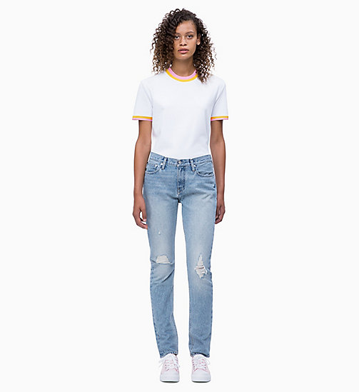 CALVIN KLEIN JEANS Straight Contrast Collar T-shirt - BRIGHT WHITE - CALVIN KLEIN JEANS NEW IN - detail image 1