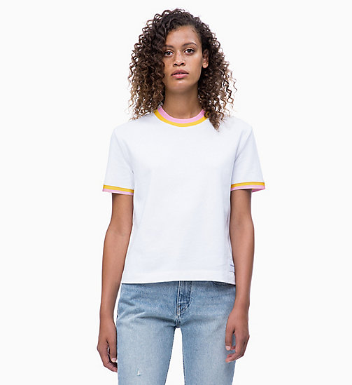 CALVIN KLEIN JEANS Straight Contrast Collar T-shirt - BRIGHT WHITE - CALVIN KLEIN JEANS NEW IN - main image