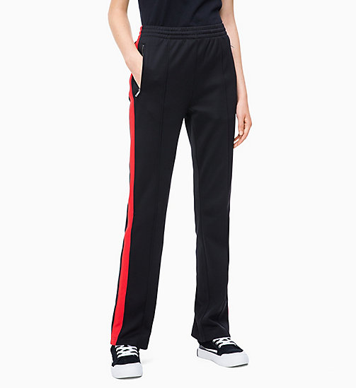 CALVIN KLEIN JEANS High Rise Side-Stripe Joggers - CK BLACK/RACING RED - CALVIN KLEIN JEANS TROUSERS & SHORTS - main image