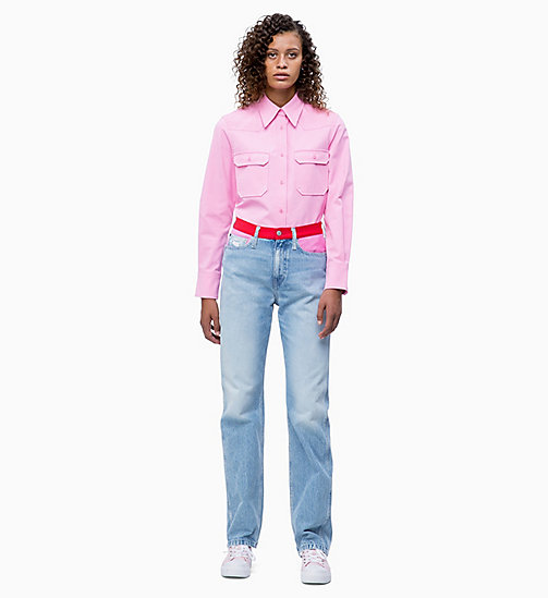 CALVIN KLEIN JEANS Cotton Twill Utility Shirt - BEGONIA PINK - CALVIN KLEIN JEANS NEW IN - detail image 1
