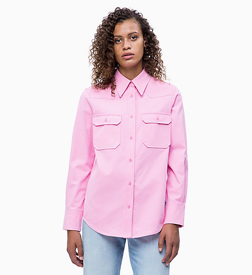 CALVIN KLEIN JEANS Cotton Twill Utility Shirt - BEGONIA PINK - CALVIN KLEIN JEANS NEW IN - main image