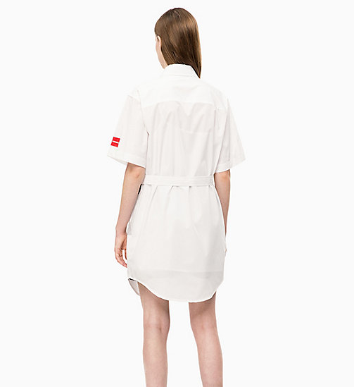 CALVIN KLEIN JEANS Flag Print Shirt Dress - BRIGHT WHITE - CALVIN KLEIN JEANS CLOTHES - detail image 1