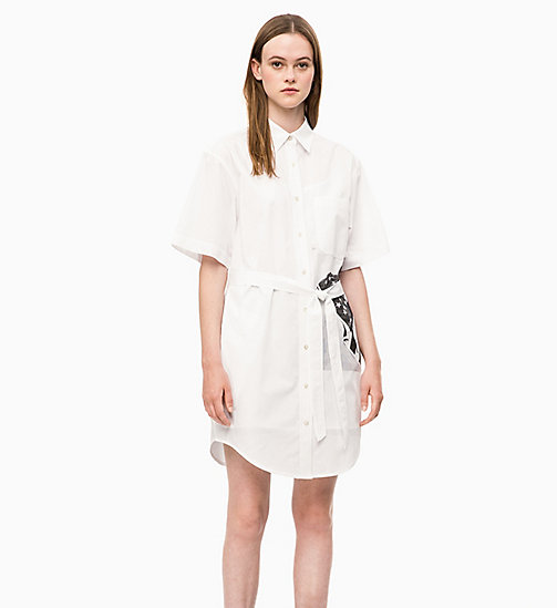 CALVIN KLEIN JEANS Flag Print Shirt Dress - BRIGHT WHITE - CALVIN KLEIN JEANS NEW IN - main image