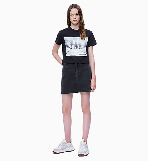 CALVIN KLEIN JEANS Cropped Printed T-shirt - CK BLACK - CALVIN KLEIN JEANS NEW IN - detail image 1
