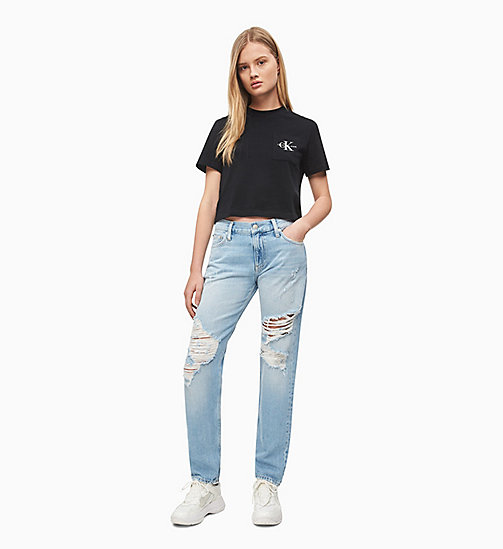 CALVIN KLEIN JEANS Organic Cotton Cropped Logo T-shirt - CK BLACK - CALVIN KLEIN JEANS NEW IN - detail image 1