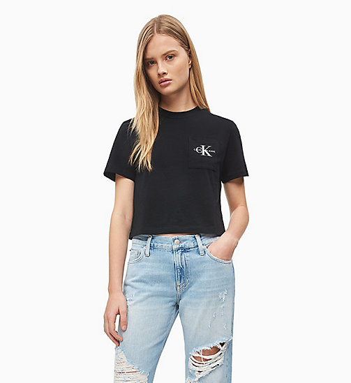 CALVIN KLEIN JEANS Organic Cotton Cropped Logo T-shirt - CK BLACK - CALVIN KLEIN JEANS NEW IN - main image