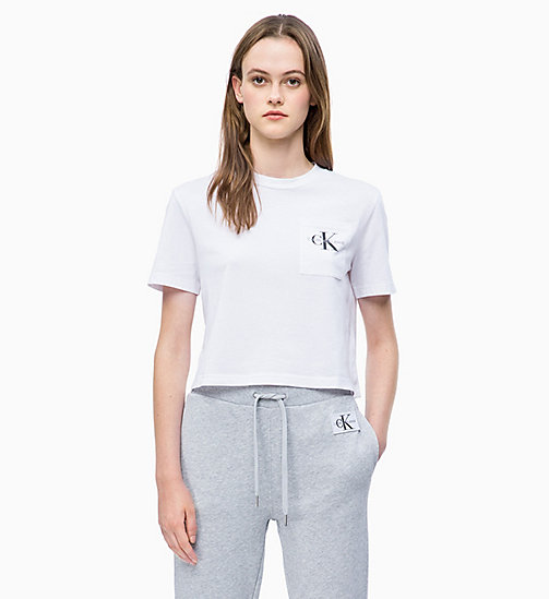 CALVIN KLEIN JEANS Organic Cotton Cropped Logo T-shirt - BRIGHT WHITE - CALVIN KLEIN JEANS NEW IN - main image