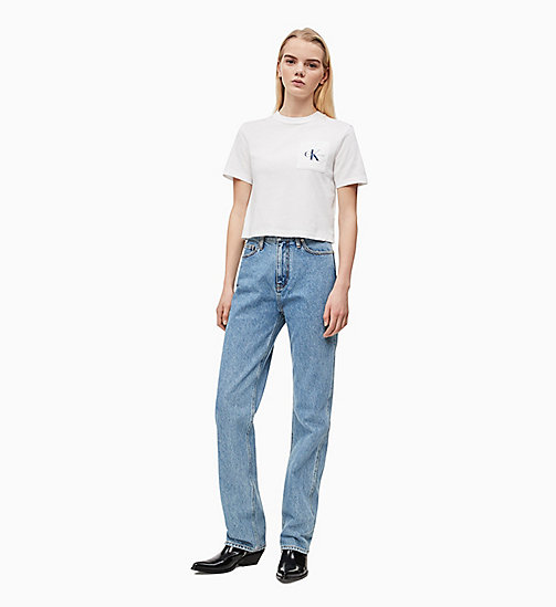 CALVIN KLEIN JEANS Organic Cotton Cropped Logo T-shirt - BRIGHT WHITE / SURF THE WEB - CALVIN KLEIN JEANS NEW IN - detail image 1