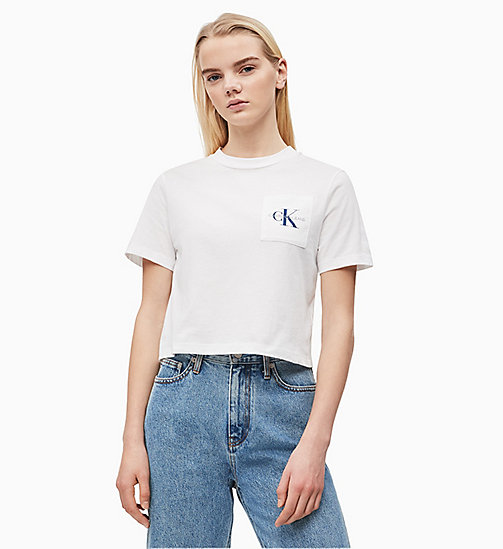 CALVIN KLEIN JEANS Organic Cotton Cropped Logo T-shirt - BRIGHT WHITE / SURF THE WEB - CALVIN KLEIN JEANS NEW IN - main image