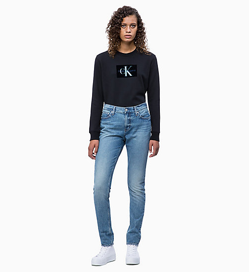 CALVIN KLEIN JEANS Flocked Logo-Sweatshirt - CK BLACK - CALVIN KLEIN JEANS NEW IN - main image 1