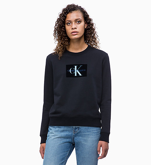 CALVIN KLEIN JEANS Flocked Logo-Sweatshirt - CK BLACK - CALVIN KLEIN JEANS NEW IN - main image