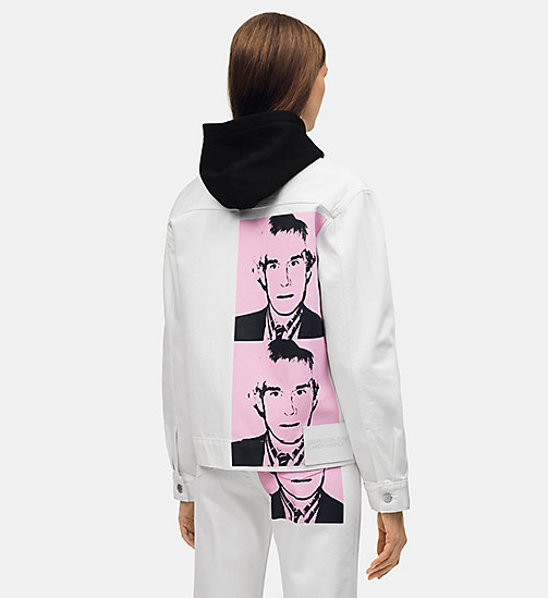 CALVIN KLEIN JEANS Giubbotto di jeans Warhol Portrait - WHITE PINK PRINT - CALVIN KLEIN JEANS ANDY WARHOL - immagine principale