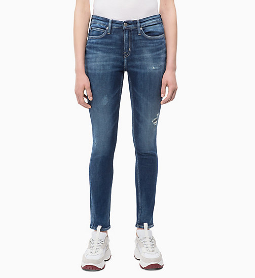 CALVIN KLEIN JEANS CKJ 011 Mid Rise Skinny Patched Jeans - PALERMO BLUE - CALVIN KLEIN JEANS NEW IN - main image