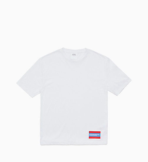 CALVIN KLEIN JEANS Est. 1978 Small Patch T-shirt - BRIGHT WHITE / TOMATO - CALVIN KLEIN JEANS TOPS - main image