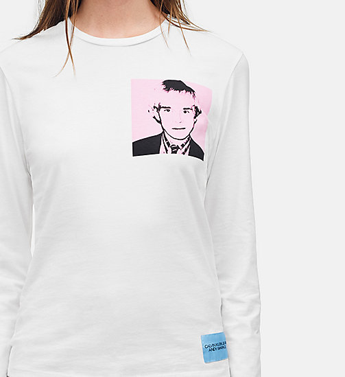 CALVIN KLEIN JEANS Warhol Portrait Long Sleeve T-shirt - BRIGHT WHITE / PINK -  ANDY WARHOL - detail image 1