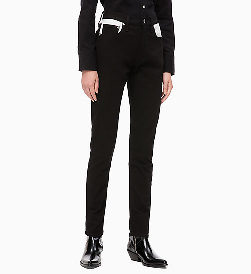 CALVIN KLEIN JEANS CKJ 020 High Rise Slim Jeans color-block - BLACK/ WHITE BLOCKED - CALVIN KLEIN JEANS VÊTEMENTS - image principale