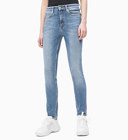 CALVIN KLEIN JEANS CKJ 010 High Rise Skinny Ankle Jeans - LANIER EMBROIDERY RED HEM - CALVIN KLEIN JEANS DENIM SHOP - main image