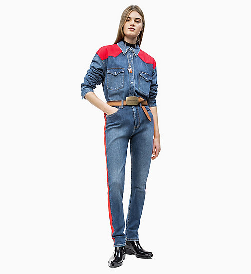 CALVIN KLEIN JEANS Oversized Western Denim Shirt - MID-STONE AND RED - CALVIN KLEIN JEANS DENIM SHOP - main image 1