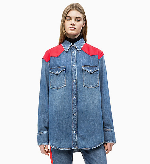 CALVIN KLEIN JEANS Oversized Western Denim Shirt - MID-STONE AND RED - CALVIN KLEIN JEANS DENIM SHOP - main image