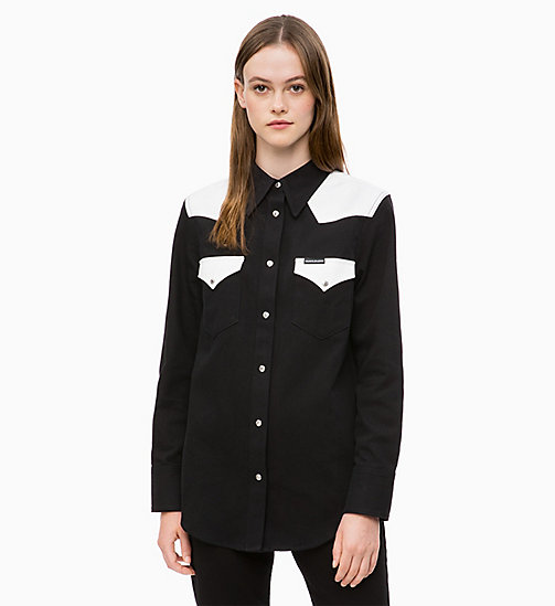 CALVIN KLEIN JEANS Colour Block Western Shirt - BLACK/ WHITE BLOCKED - CALVIN KLEIN JEANS SHIRTS & TOPS - main image