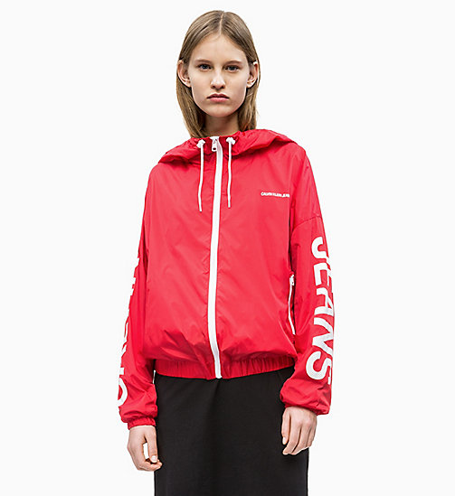 CALVIN KLEIN JEANS Logo-Windbreaker aus Nylon - RACING RED / LOGO - CALVIN KLEIN JEANS NEW IN - main image