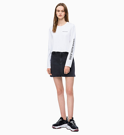 CALVIN KLEIN JEANS Cropped Long Sleeve Logo T-shirt - BRIGHT WHITE - CALVIN KLEIN JEANS NEW IN - detail image 1