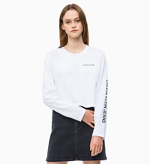 CALVIN KLEIN JEANS Cropped Long Sleeve Logo T-shirt - BRIGHT WHITE - CALVIN KLEIN JEANS NEW IN - main image