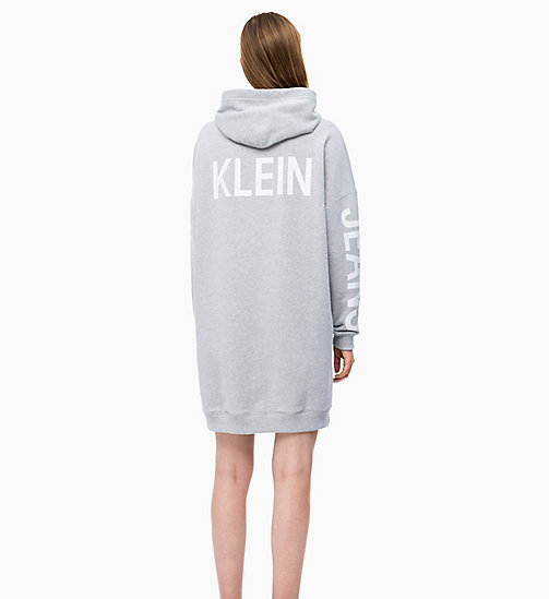 CALVIN KLEIN JEANS Hooded Sweatshirt Dress - LIGHT GREY HEATHER - CALVIN KLEIN JEANS NEW IN - detail image 1