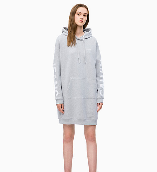 CALVIN KLEIN JEANS Hooded Sweatshirt Dress - LIGHT GREY HEATHER - CALVIN KLEIN JEANS NEW IN - main image