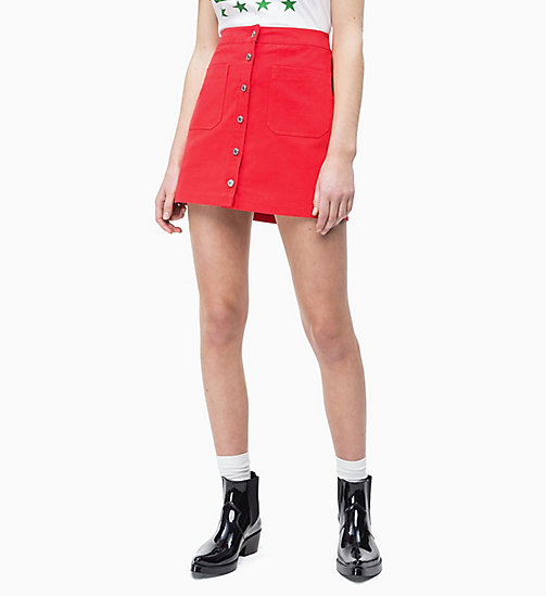 CALVIN KLEIN JEANS Button-Through Mini Skirt - RACING RED - CALVIN KLEIN JEANS NEW IN - main image