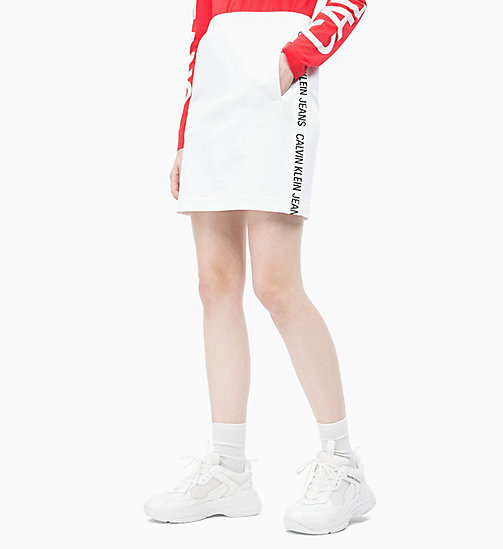 CALVIN KLEIN JEANS Logo Tape Jersey Skirt - BRIGHT WHITE - CALVIN KLEIN JEANS NEW IN - main image