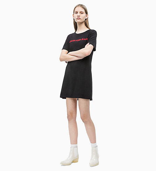 CALVIN KLEIN JEANS Embroidered Logo T-shirt Dress - CK BLACK - CALVIN KLEIN JEANS NEW IN - detail image 1