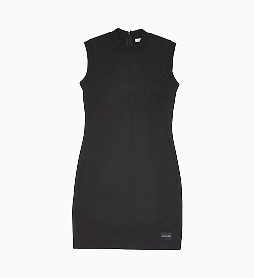 CALVIN KLEIN JEANS Fitted Milano Jersey Dress - CK BLACK - CALVIN KLEIN JEANS NEW IN - main image