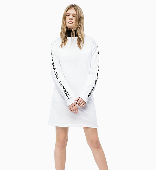 CALVIN KLEIN JEANS Logo Tape Sweatshirt Dress - BRIGHT WHITE - CALVIN KLEIN JEANS NEW IN - detail image 1