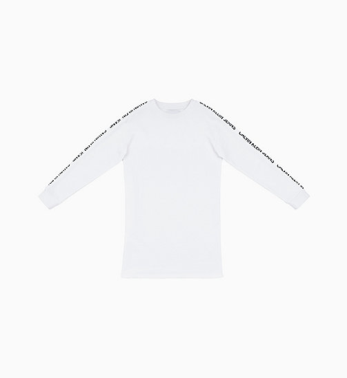CALVIN KLEIN JEANS Logo Tape Sweatshirt Dress - BRIGHT WHITE - CALVIN KLEIN JEANS NEW IN - main image