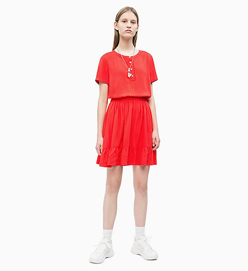 CALVIN KLEIN JEANS Waisted Ruffle Dress - RACING RED - CALVIN KLEIN JEANS NEW IN - detail image 1