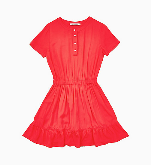 CALVIN KLEIN JEANS Waisted Ruffle Dress - RACING RED - CALVIN KLEIN JEANS NEW IN - main image