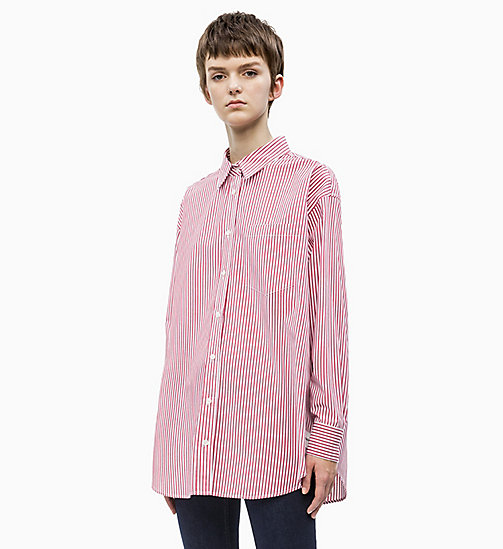 CALVIN KLEIN JEANS Oversized Stripe Poplin Shirt - BRIGHT WHITE/ RACING RED STRIPES - CALVIN KLEIN JEANS NEW IN - main image