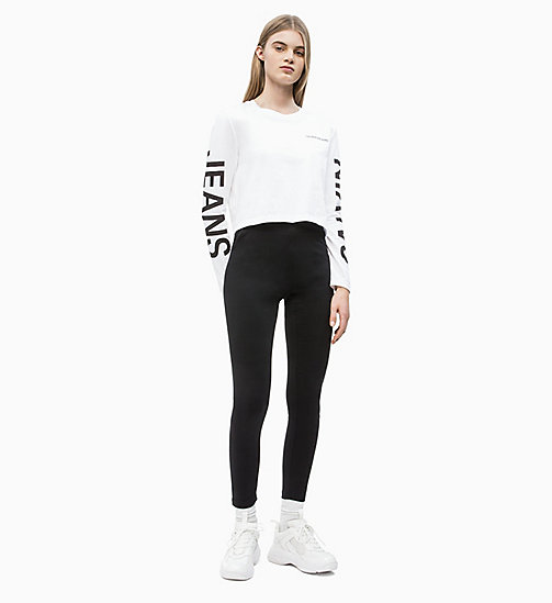 CALVIN KLEIN JEANS Long-Sleeve Logo T-shirt - BRIGHT WHITE / CK BLACK - CALVIN KLEIN JEANS NEW IN - detail image 1