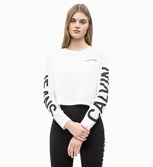 CALVIN KLEIN JEANS Long-Sleeve Logo T-shirt - BRIGHT WHITE / CK BLACK - CALVIN KLEIN JEANS NEW IN - main image
