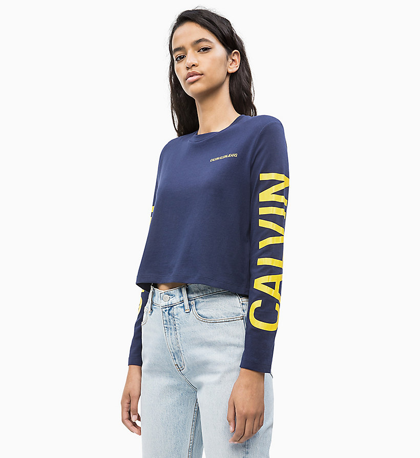 CALVIN KLEIN JEANS Long-Sleeve Logo T-shirt - RACING RED/WHITE - CALVIN KLEIN JEANS WOMEN - main image
