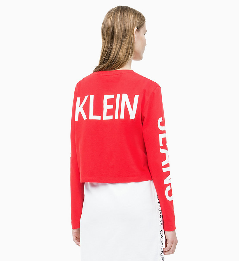 CALVIN KLEIN JEANS Long-Sleeve Logo T-shirt - BRIGHT WHITE / CK BLACK - CALVIN KLEIN JEANS WOMEN - detail image 1