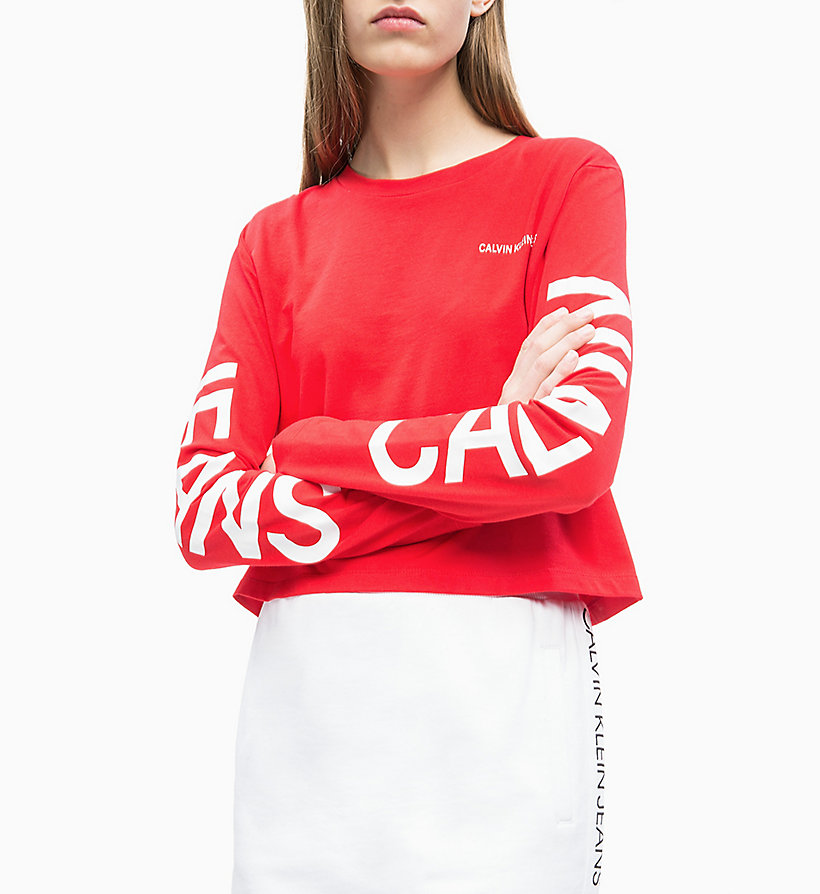 CALVIN KLEIN JEANS Long-Sleeve Logo T-shirt - BRIGHT WHITE / CK BLACK - CALVIN KLEIN JEANS WOMEN - detail image 2