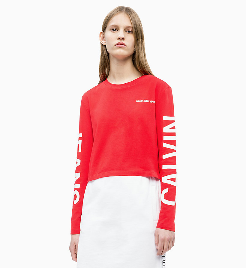 CALVIN KLEIN JEANS Long-Sleeve Logo T-shirt - BRIGHT WHITE / CK BLACK - CALVIN KLEIN JEANS WOMEN - main image