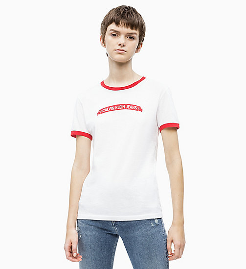 CALVIN KLEIN JEANS Organic Cotton Logo T-shirt - BRIGHT WHITE/ RACING RED - CALVIN KLEIN JEANS NEW IN - main image