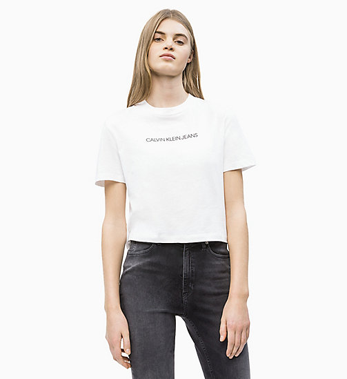 CALVIN KLEIN JEANS Organic Cotton Cropped T-shirt - BRIGHT WHITE - CALVIN KLEIN JEANS NEW IN - main image