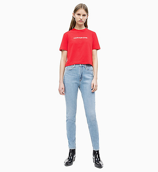 CALVIN KLEIN JEANS Organic Cotton Cropped T-shirt - RACING RED - CALVIN KLEIN JEANS NEW IN - detail image 1