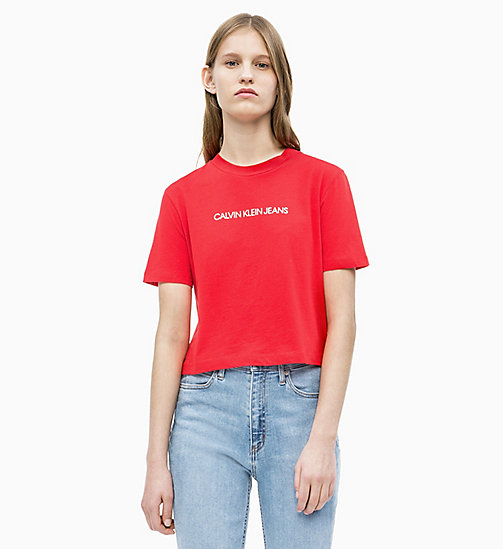 CALVIN KLEIN JEANS Organic Cotton Cropped T-shirt - RACING RED - CALVIN KLEIN JEANS NEW IN - main image