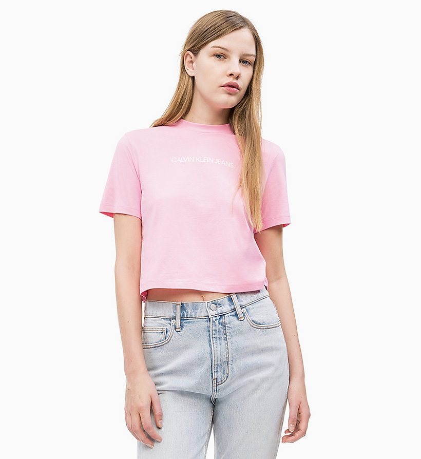 CALVIN KLEIN JEANS Organic Cotton Cropped T-shirt - RACING RED - CALVIN KLEIN JEANS WOMEN - main image