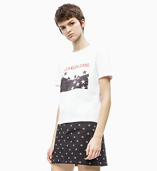 CALVIN KLEIN JEANS Straight Star Logo T-shirt - BRIGHT WHITE / CK BLACK - CALVIN KLEIN JEANS NEW IN - main image